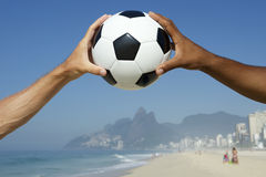 Brazilian Hands Holding Football Soccer Ball Rio Stock Photos