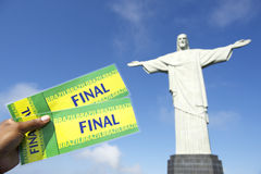 Brazilian Holding Final Tickets at Corcovado Rio Brazil Stock Images
