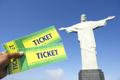 Brazilian Holding Tickets at Corcovado Rio de Janeiro Royalty Free Stock Photography
