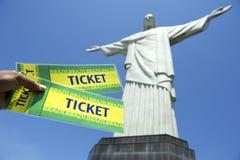 Brazilian Holding Tickets at Corcovado Rio de Janeiro Stock Photo