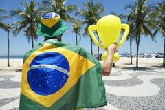 Brazilian Holding Trophy Copacabana Beach royalty free stock photos