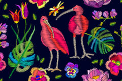 Brazilian Ibises in the blooming garden. Seamless vector pattern with embroidery texture. Pansies, peonies, palm leaves. Textile design with oriental motifs royalty free illustration