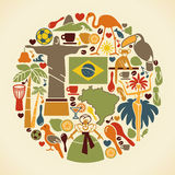Brazilian icons in the form of a circle Royalty Free Stock Image