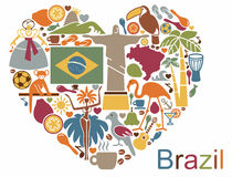Brazilian icons in the form of a heart Stock Photography