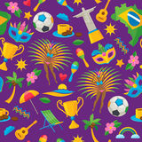Brazilian icons symbols pattern vector illustration. Brazilian icons symbols seamless pattern vector illustration background. Map flag football samba dancer Stock Photography