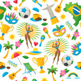 Brazilian icons symbols pattern vector illustration. Brazilian icons symbols seamless pattern vector illustration background. Map flag football samba dancer Royalty Free Stock Photos