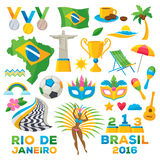 Brazilian icons symbols set vector illustration. Map flag football samba dancer  beach cup  jesus brazil flower carnival mask maracas colorful design Stock Photo