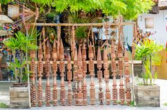 Brazilian indigenous decoration weapons being sold at a handicraft fair in Bahia in Brazil. Pataxó spears. Brazilian culture royalty free stock images