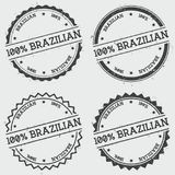 100% Brazilian insignia stamp isolated on white. 100% Brazilian insignia stamp isolated on white background. Grunge round hipster seal with text, ink texture Vector Illustration