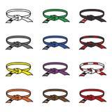 Brazilian jiu jitsu belts icon set. BJJ belts set. Vector. Eps10 Stock Photos