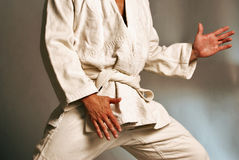 Brazilian Jiu jitsu Gi. Tan White male in Brazilian jujitsu gi kimono robe Stock Photo