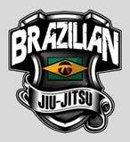 BRAZILIAN JIUJITSU SHIELD. This Brazilian Jiu-Jitsu Design are suitable for all your apparel. take it out Stock Photo