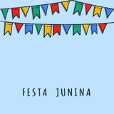 Brazilian june party,  background with flags garland. Brazilian june party,  illustration background with garland of hand drawn flags Royalty Free Stock Photo
