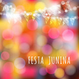 Brazilian june party,  background, lights and flags Stock Photos