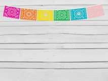 Brazilian june party, festa junina mockup. Birthday decorative scene. String of handmade cut paper flags. Party decoration. White Stock Images