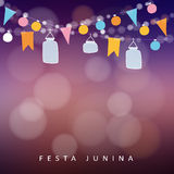Brazilian june party,  festa junina. String of lights, jar lanterns. Party decoration. Birthday garden party. Sunset blurred  background, banner Stock Images