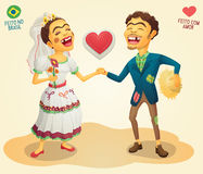 Brazilian June Party happy hick couple. Made in Brazil - Made with love - High quality detailed vector cartoon for june party themes Stock Photo