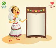 Brazilian June Party hick bride holding blank thematic board. Made in Brazil - Made with love - High quality detailed vector cartoon for june party themes Royalty Free Stock Image