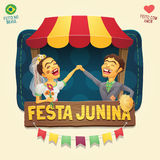 Brazilian June Party hick couple in front of a tent wooden sign. Multiple layers - Creative high quality vector cartoon for june party themes - Made in Brazil Stock Photography