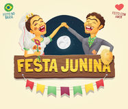 Brazilian June Party hick couple with wooden sign logo/ header Royalty Free Stock Photos