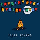 Brazilian june party,  illustration background with fire and flags Stock Photo