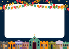 Brazilian the June party. Latin American holiday, the June party of Brazil, bright night the background with colonial houses, church, lights and colored flags Stock Photos
