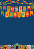 Brazilian the June party words in Portuguese Festa Junina. Latin American holiday, the June party of Brazil, bright night the background with colonial houses Stock Photo
