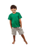 Brazilian kid cheer santand up. Brazilian kid santand up with face pinted for Brazilian soccer game cheer on white background Royalty Free Stock Photography