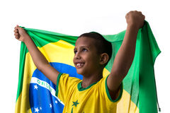 Brazilian little boy fan holding the flag of Brazil Stock Image