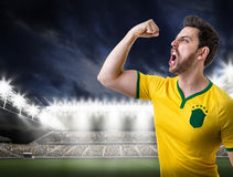 Brazilian male fan celebrating in the stadium Stock Photo