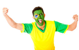 Brazilian man celebrating Royalty Free Stock Photography