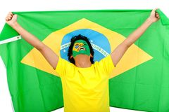 Brazilian man with the flag Royalty Free Stock Photography