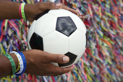 Brazilian Man Holding Soccer Ball Praying Salvador Bahia Royalty Free Stock Photos