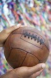 Brazilian Man Holding Soccer Ball Praying Salvador Bahia Royalty Free Stock Photo
