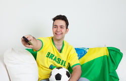 Brazilian man loves watching soccer Royalty Free Stock Images