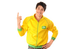 Brazilian man pointing up. Royalty Free Stock Photo