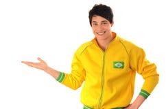 Brazilian man presenting. Stock Photo