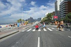 Brazilian Man Pulling Beach Chairs Rio Brazil Royalty Free Stock Photography