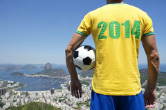 Brazilian Man in 2014 Shirt Football Skyline Royalty Free Stock Photos