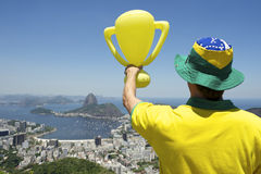Brazilian Man in 2014 Shirt Trophy Skyline Stock Photo