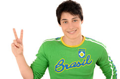 Brazilian man signing victory for Brazil. Stock Image