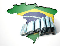 Brazilian Map And Folded Notes Stock Photos