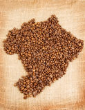 Brazilian map made out of coffee beans Royalty Free Stock Photos