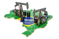 Brazilian map with oil barrels and pumpjacks. Oil production con. Cept. 3D stock illustration
