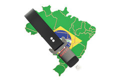 Brazilian map with safety belt. Security and protect or insurance Stock Images