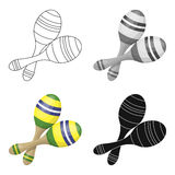 Brazilian maracas icon in cartoon style isolated on white background. Brazil country symbol stock vector illustration. Royalty Free Stock Image