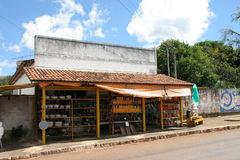 Brazilian Market. A roadside market in Brazil selling artisan food products and cookware royalty free stock photos