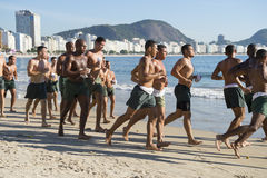 Brazilian Military Cadets Running Rio Brazil Stock Photography