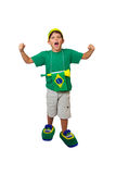 Brazilian mini fan celebrating Stock Photo