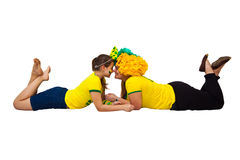 Brazilian mom and daughter supporters Stock Image
